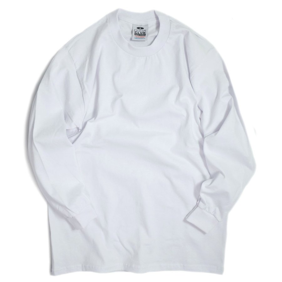 画像1: PRO CLUB Heavyweight Cotton Long Sleeve Crew Neck T-shirts White / プロクラブ へービーウェイト コットン ロングスリーブ クルーネック Tシャツ ホワイト (1)