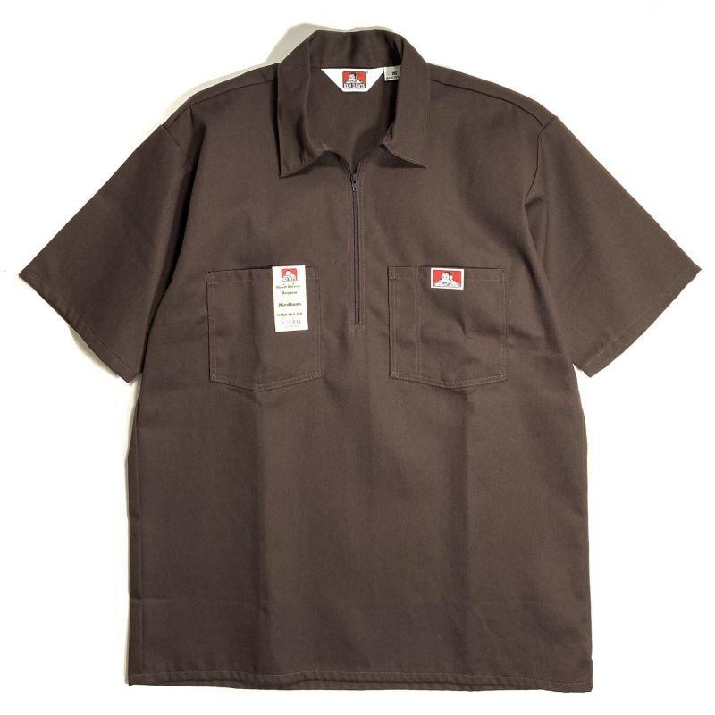 画像1: Ben Davis Short Sleeve Solid Half Zip Work Shirts Brown / ベン デイビス ショートスリーブ ソリッド ハーフジップ ワークシャツ ブラウン (1)