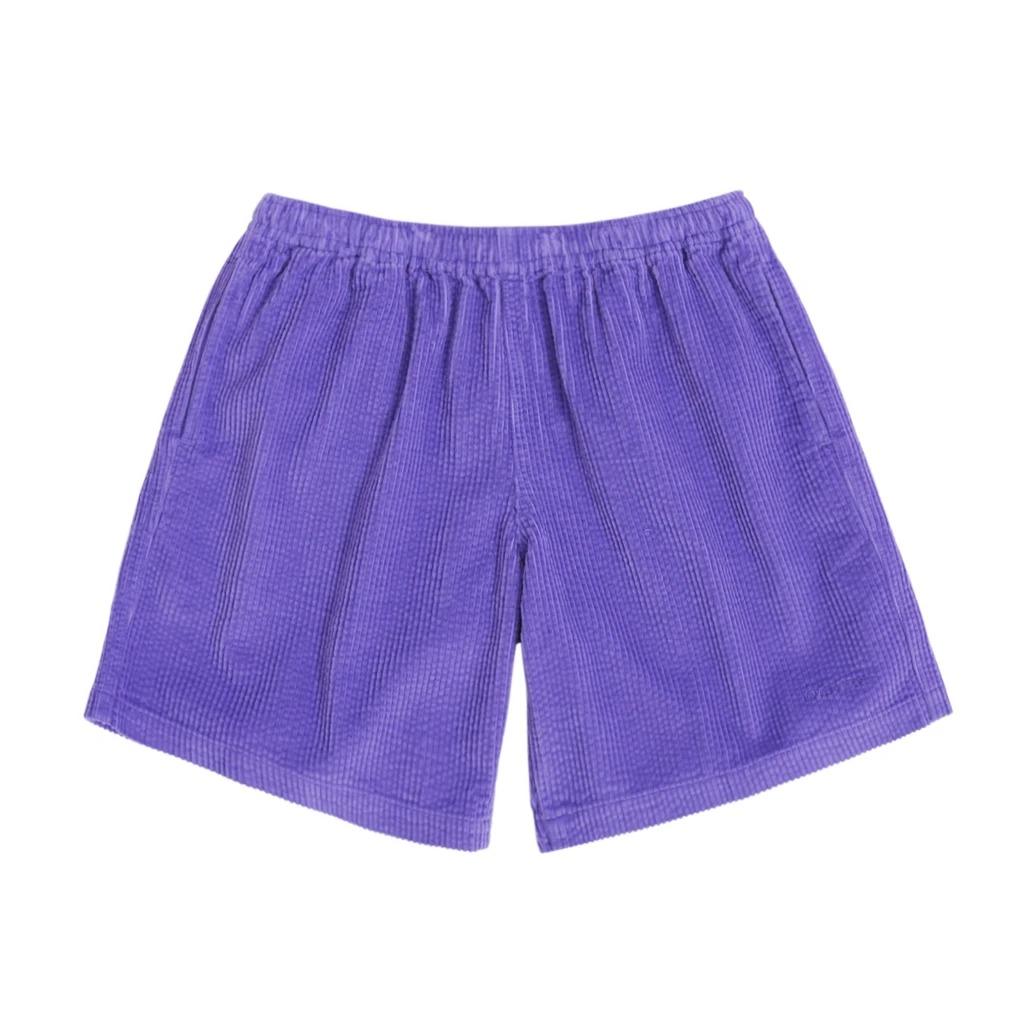 画像1: ONLY NY Wide Wale Corduroy Chill Shorts Purple / オンリーニューヨーク ワイドウェール コーデュロイ ショーツ パープル (1)