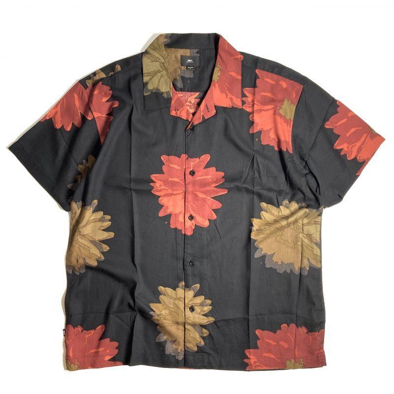 画像1: OBEY Lou Short Sleeve Woven Shirts Black Multi / オベイ ショートスリーブ シャツ (1)