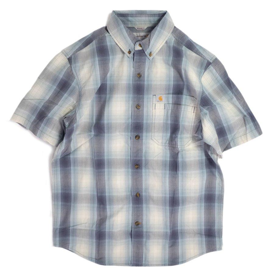 画像1: Carhartt Relax Fit Lightweight Short Sleeve Plaid Shirts Blue Stone / カーハート リラックスフィット プレイドチェック ショートスリーブシャツ (1)