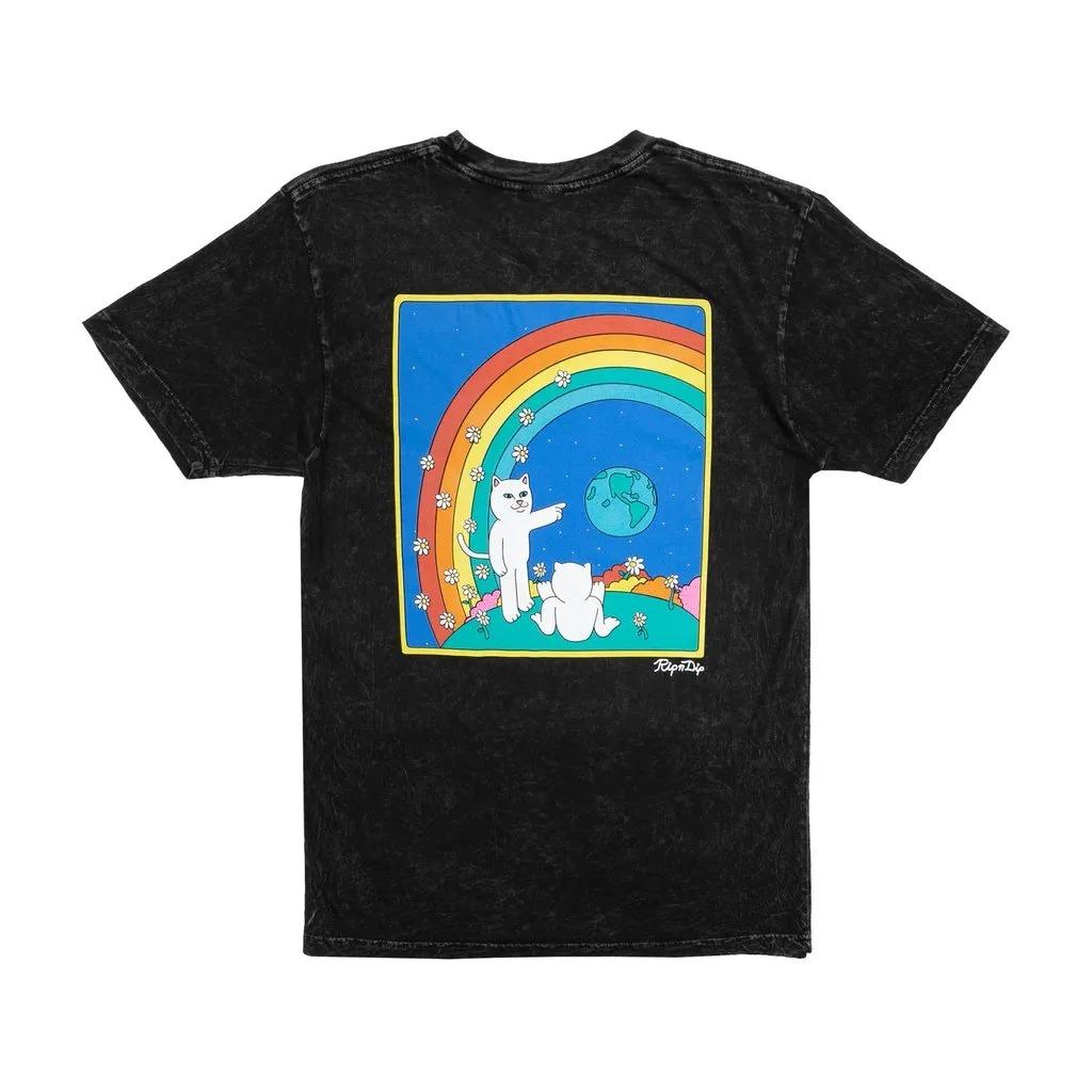 画像1: RIPNDIP Earthgazing Short Sleeve T-Shirts Black Mineral Wash / リップンディップ ショートスリーブ Tシャツ ブラックミネラルウォッシュ (1)