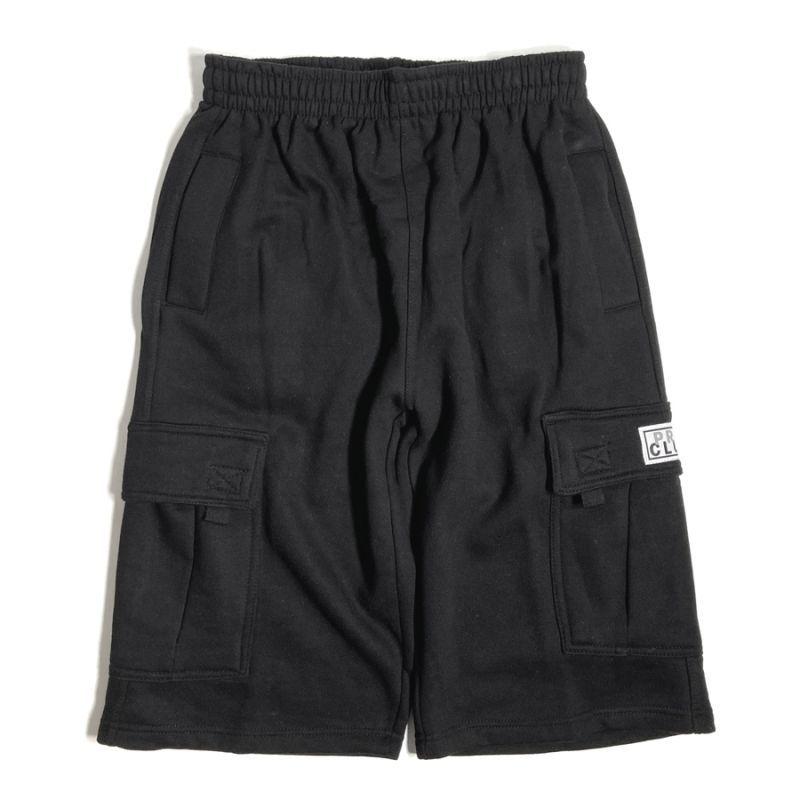画像1: PRO CLUB Fleece Cargo Shorts Black / プロクラブ フリース カーゴショーツ ブラック (1)