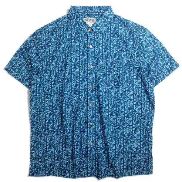 画像1: Haband Batik Print Short Sleeve Hawaiian Shirt Ocean Blue / ハバンド バティック プリント ショート スリーブ ハワイアン シャツ オーシャンブルー (1)