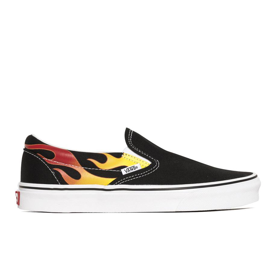 画像1: Vans Slip-On Flame Black x White / ヴァンズ スリッポン フレイム ファイヤー ブラック x ホワイト (1)
