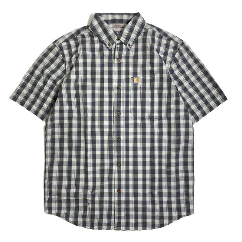 画像1: Carhartt Relax Fit Lightweight Short Sleeve Plaid Shirts Navy / カーハート リラックスフィット プレイドチェック ショートスリーブシャツ (1)