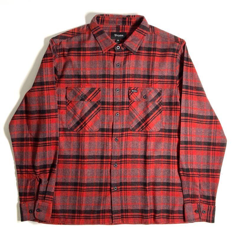画像1: Brixton Bowery Flannel Long Sleeve Shirts Red x Black / ブリクストン バワリー フランネル ロングスリーブ シャツ (1)