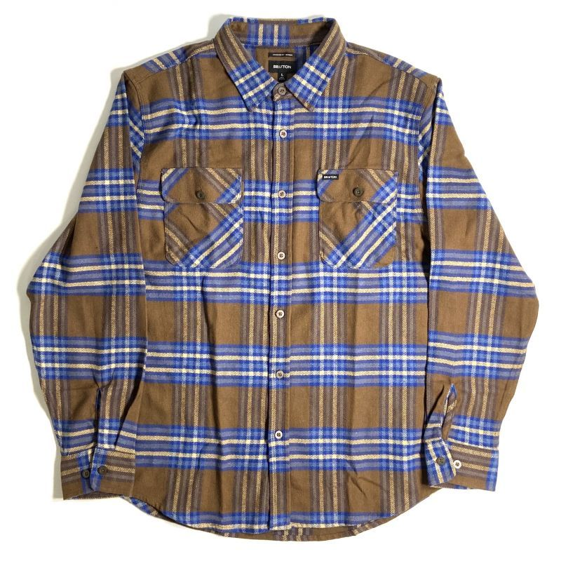 画像1: Brixton Bowery Flannel Long Sleeve Shirts Brown x Blue / ブリクストン バワリー フランネル ロングスリーブ シャツ ブラウン x ブルー (1)