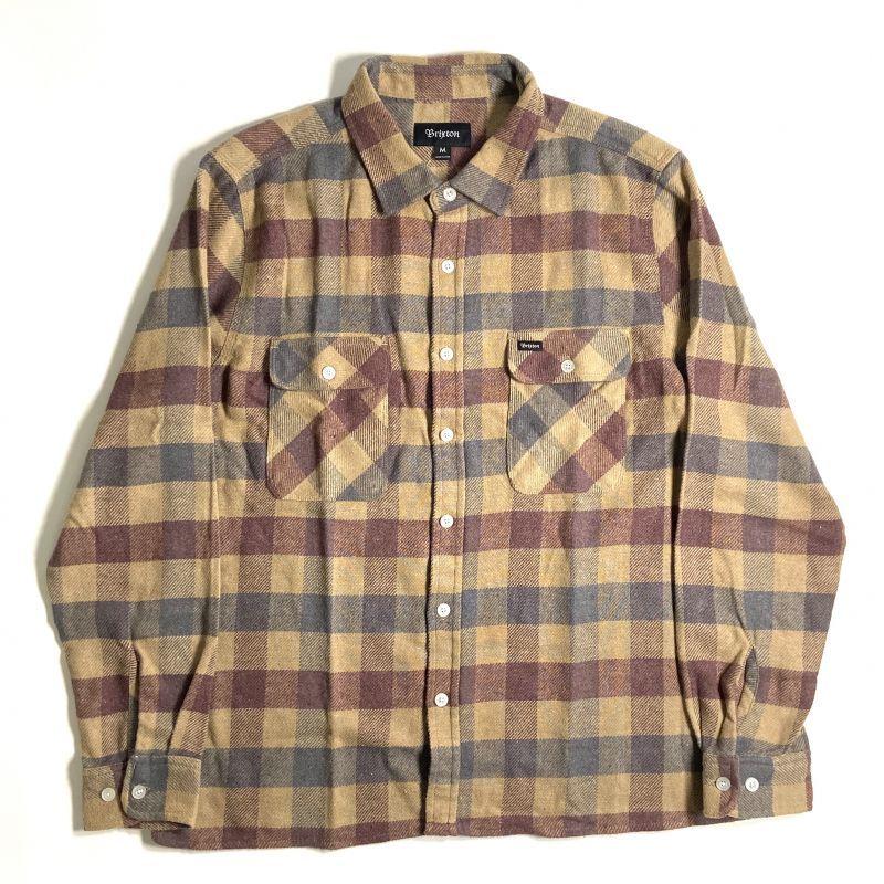 画像1: Brixton Bowery Flannel Long Sleeve Shirts Khaki x Burgundy / ブリクストン バワリー フランネル ロングスリーブ シャツ (1)