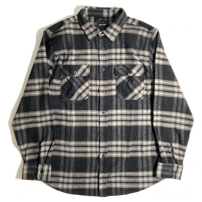 画像1: Brixton Bowery Flannel Long Sleeve Shirts Black x Charcoal / ブリクストン バワリー フランネル ロングスリーブ シャツ ブラックxチャコール (1)