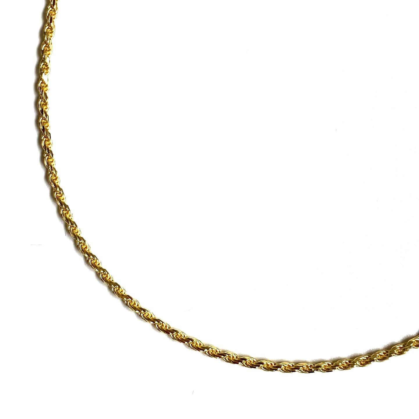 画像1: 18k Gold Plated 1.5mm Rope Chain Necklace Gold / 18金メッキ 925 シルバー ロープ チェーン ネックレス ゴールド (1)