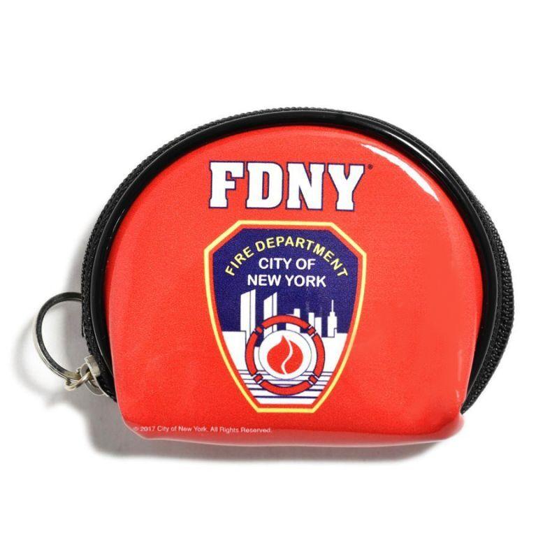 画像1: FDNY New York City Fire Department Zip Coin Case Red / ニューヨーク市消防局 ジップ コインケース レッド (1)