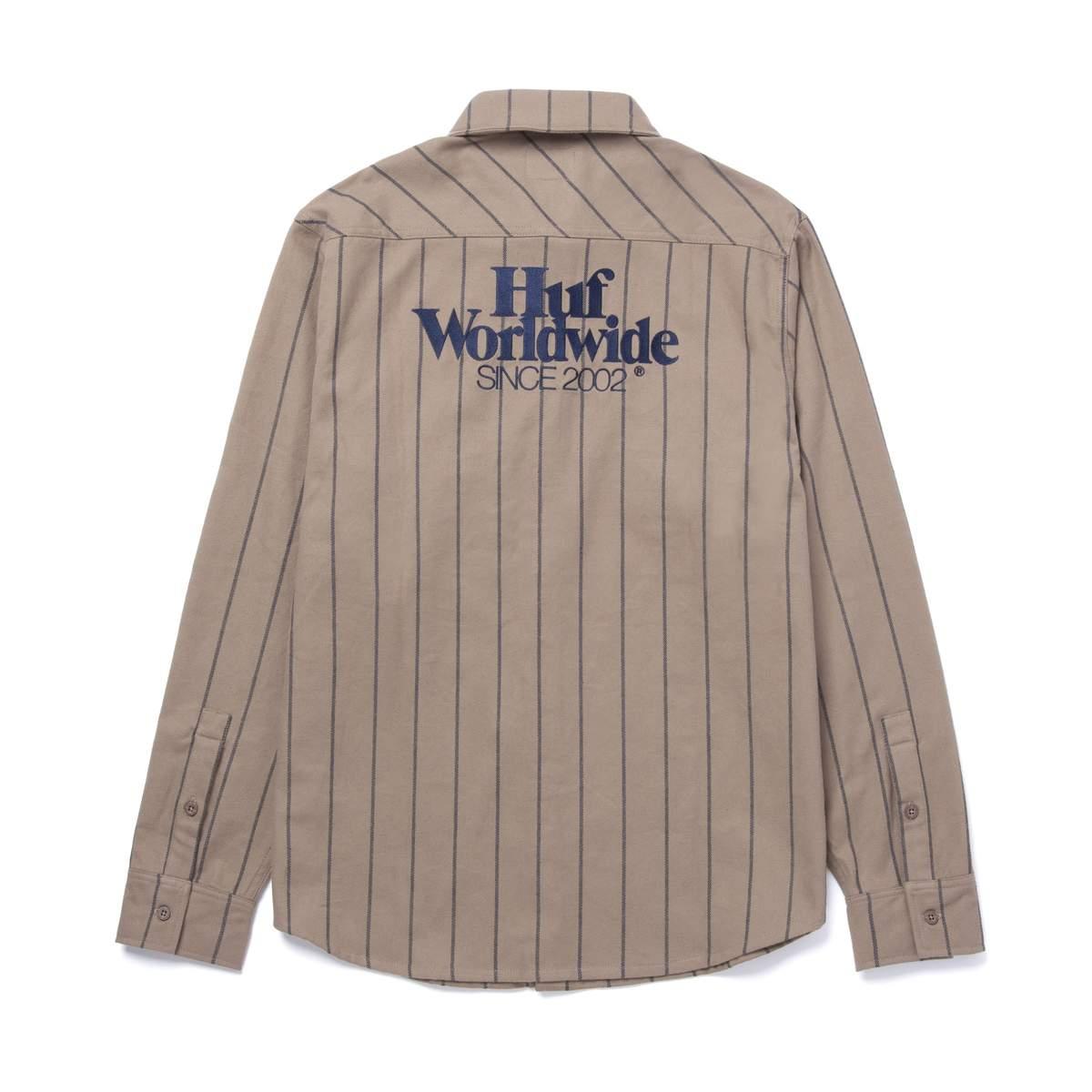 画像1: HUF Issue Stripe Flannel Walnut / ハフ ストライプ フランネルシャツ (1)