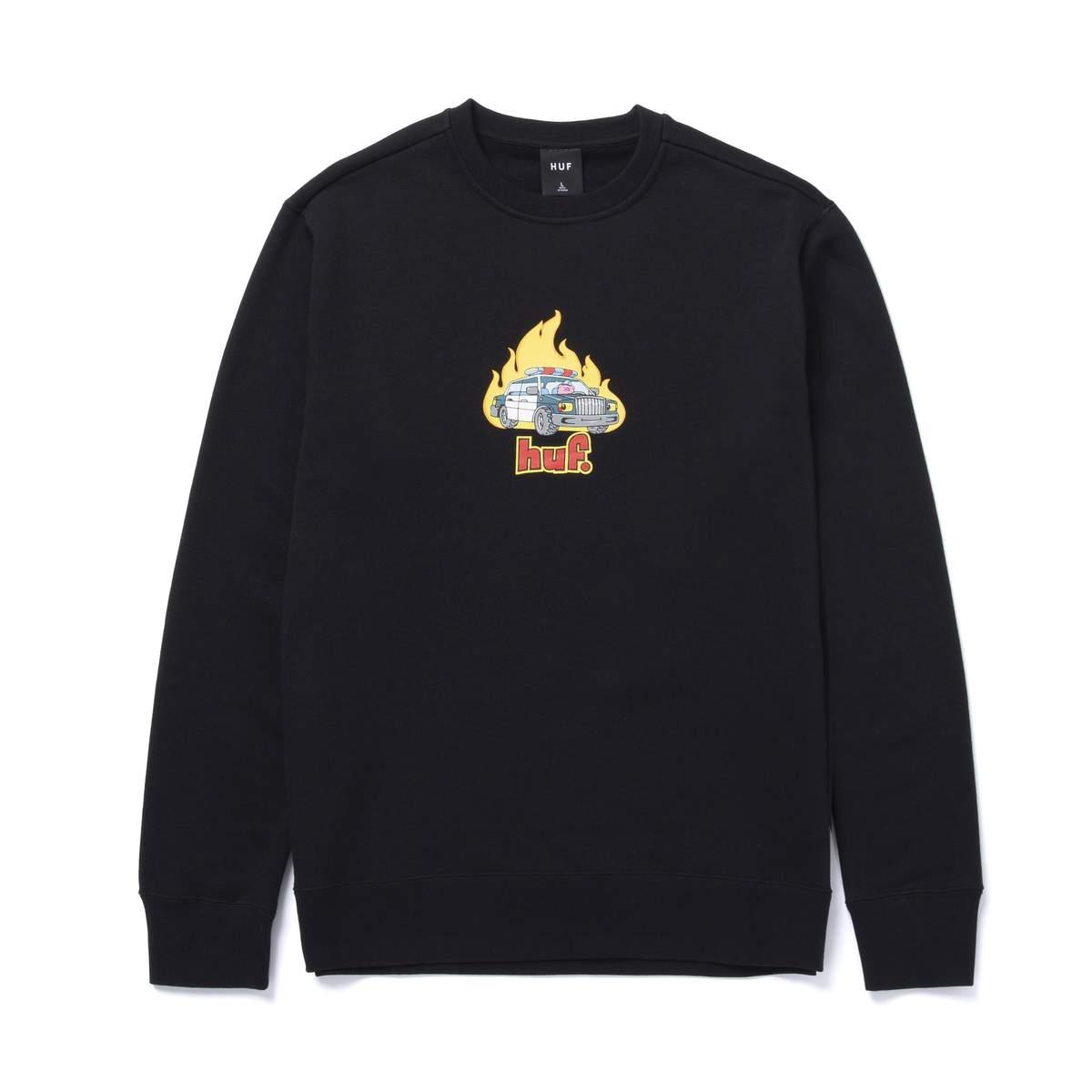 画像1: HUF Roasted Crew Sweatshirts Black / ハフ クルーネック スウェット (1)