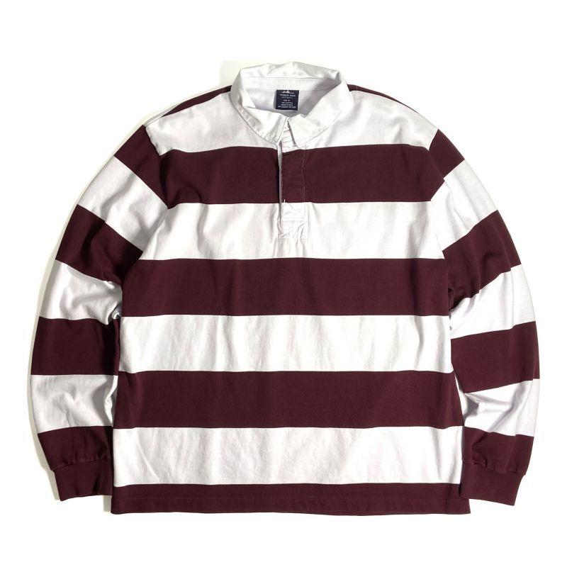 画像1: Charles River Apparel Classic Rugby Shirts Maroon x White / チャールズリバーアパレル クラシック ラグビーシャツ マルーンxホワイト (1)