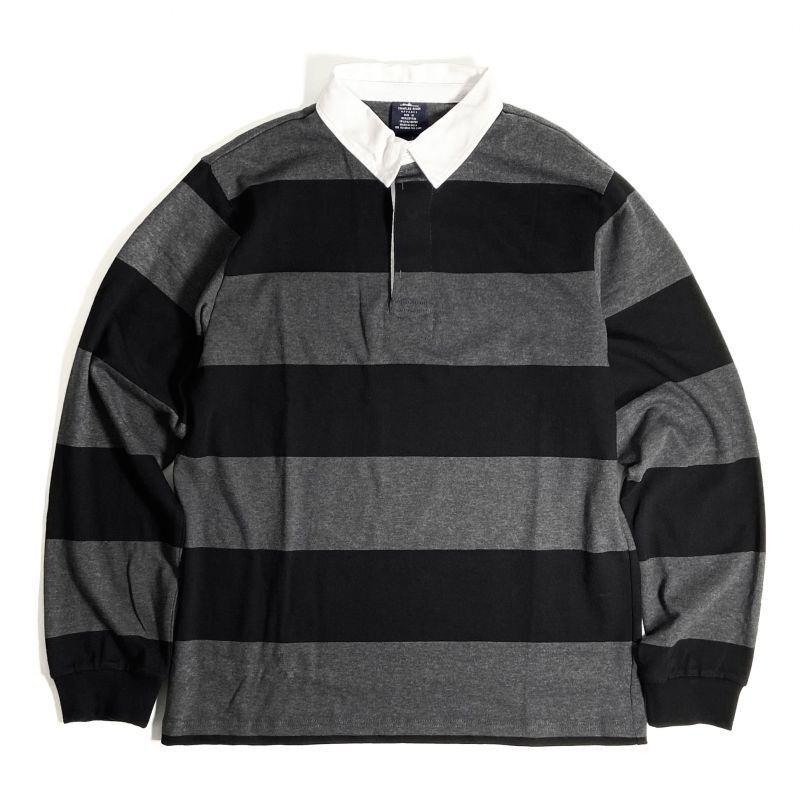 画像1: Charles River Apparel Classic Rugby Shirts Black x Grey / チャールズリバーアパレル クラシック ラグビーシャツ ブラックxグレー (1)