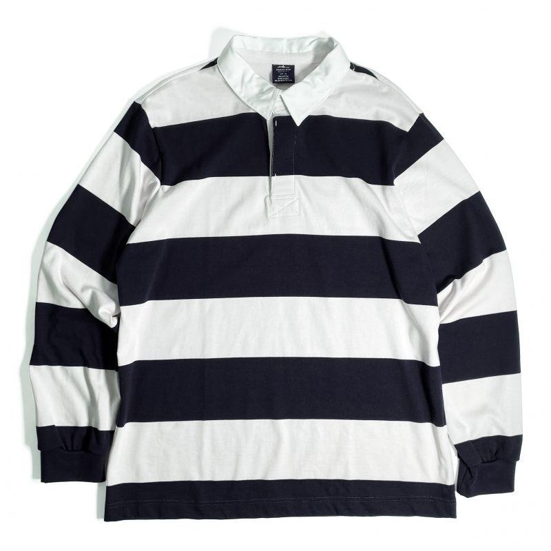 画像1: Charles River Apparel Classic Rugby Shirts Navy x White / チャールズリバーアパレル クラシック ラグビーシャツ ネイビーxホワイト (1)